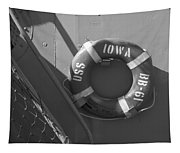 Life Ring Uss Iowa Battleship Bw Tapestry