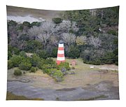 Lighthouse Aerial Near Jekyll Island Tapestry