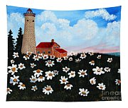 Lighthouse And Daisies Tapestry