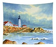 Lighthouse At Portland Head Maine Tapestry