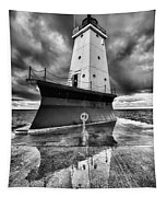 Lighthouse Reflection Black And White Tapestry