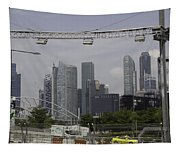 Lighting Work For The Singapore Formula One And A View Of The Helix Bridge Tapestry