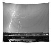 Lightning Strike Boulder Reservoir And Coot Lake Bw Tapestry