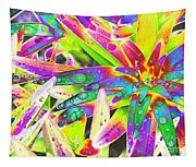 Lily Leaves Raindrops Tapestry