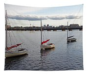 Line Of Boats On The Charles River Tapestry