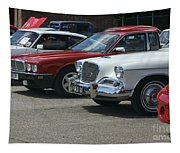 A Line Up Of Vintage Cars Tapestry