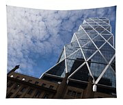 Lines Triangles And Cloud Puffs - Hearst Tower In New York City Tapestry