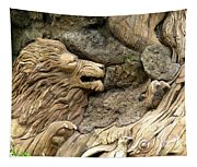 Lion On The Tree Of  Life Tapestry