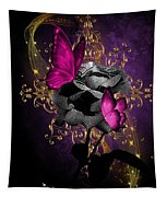 Lipstic Pink Butterflies Tapestry