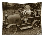 Little Boy In Toy Fire Engine Circa 1920 Tapestry