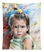 Little Girl From Tahiti Tapestry