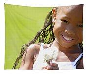 Little Girl Holding Weeds Tapestry