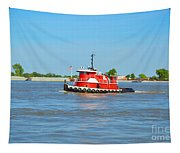 Little Red Boat On The Mighty Mississippi Tapestry