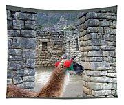Llama Touring Machu Picchu Tapestry