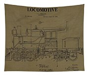 Locomotive Patent Postcard Tapestry