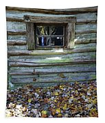 Log Cabin Window And Fall Leaves Tapestry