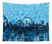 London Skyline Abstract Blue Tapestry