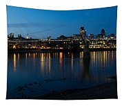 London Skyline Reflecting In The Thames River At Night Tapestry