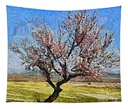 Lone Almond Tree In Bloom Tapestry