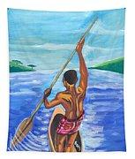 Lonely Boatman In Rwanda Tapestry