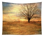 Lonely Tree At Sunset Tapestry