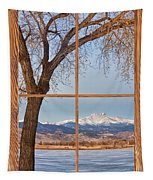 Longs Peak Winter Lake Barn Wood Picture Window View Tapestry