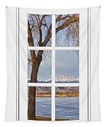 Longs Peak Winter View Through A White Window Frame Tapestry