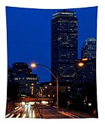 Looking Down The Mass Pike From The Brookline Ave Bridge Tapestry