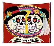 Los Novios Sugar Skulls Tapestry