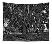Louisiana Moon Rising Monochrome  Tapestry