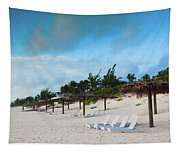 Lounge Chairs And Parasol On Pink Sands Tapestry