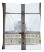 Louvre Museum Viewed Through A Window Tapestry