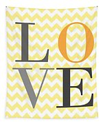 Love Chevron Yellow Tapestry