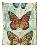 Lovely Butterfly Trio On Tin Tile Tapestry
