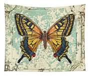 Lovely Yellow Butterfly On Tin Tile Tapestry
