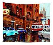 Lovers In The Rain Stroll St Catherine Street Near Morgans Department Store Vintage City Scene Art Tapestry