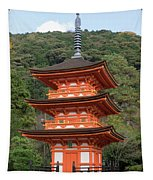 Low Angle View Of A Small Pagoda Tapestry