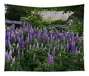 Lupine By The Fence Tapestry