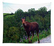 Lupine Loving Moose Tapestry