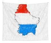 Luxembourg Painted Flag Map Tapestry