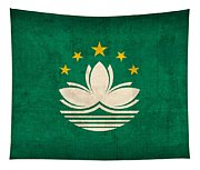 Macau Flag Vintage Distressed Finish Tapestry