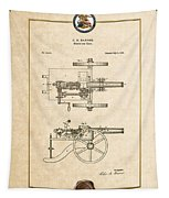 Machine Gun - Automatic Cannon By C.e. Barnes - Vintage Patent Document Tapestry