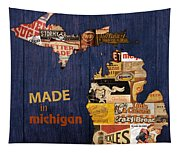 Made In Michigan Products Vintage Map On Wood Tapestry