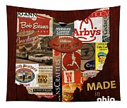 Made In Ohio Products Vintage Map On Wood Tapestry