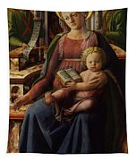 Madonna And Child Enthroned With Two Angels Tapestry