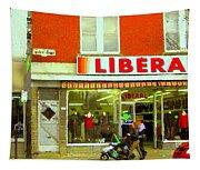 Magazin Liberal Notre Dame Ouest Dress Shop Strolling  St. Henri  Street Scenes Carole Spandau Tapestry