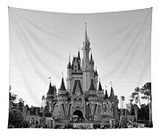 Magic Kingdom Castle In Black And White Tapestry