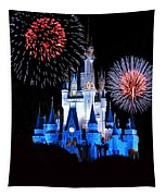 Magic Kingdom Castle In Blue With Fireworks Tapestry