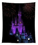 Magic Kingdom Castle In Purple With Fireworks 01 Tapestry