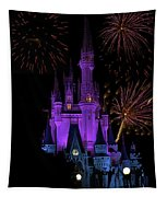 Magic Kingdom Castle In Purple With Fireworks 02 Tapestry